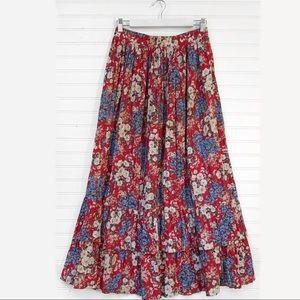 VTG Floral Boho Prairie Gypsy Ruffle Midi Skirt